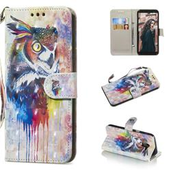 Watercolor Owl 3D Painted Leather Wallet Phone Case for Samsung Galaxy A6 (2018)