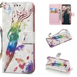 Music Pen 3D Painted Leather Wallet Phone Case for Samsung Galaxy A6 (2018)
