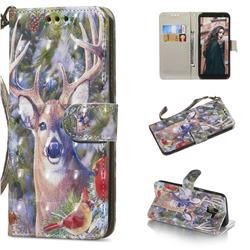 Elk Deer 3D Painted Leather Wallet Phone Case for Samsung Galaxy A6 (2018)