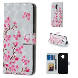 Butterfly Sakura Flower 3D Painted Leather Phone Wallet Case for Samsung Galaxy A6 (2018)
