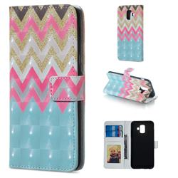 Color Wave 3D Painted Leather Phone Wallet Case for Samsung Galaxy A6 (2018)