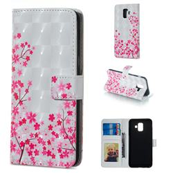 Cherry Blossom 3D Painted Leather Phone Wallet Case for Samsung Galaxy A6 (2018)