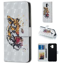 Toothed Tiger 3D Painted Leather Phone Wallet Case for Samsung Galaxy A6 (2018)