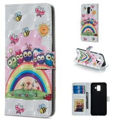 Rainbow Owl Family 3D Painted Leather Phone Wallet Case for Samsung Galaxy A6 (2018)
