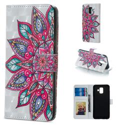 Mandara Flower 3D Painted Leather Phone Wallet Case for Samsung Galaxy A6 (2018)