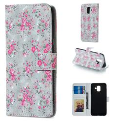 Roses Flower 3D Painted Leather Phone Wallet Case for Samsung Galaxy A6 (2018)