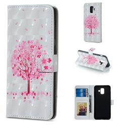 Sakura Flower Tree 3D Painted Leather Phone Wallet Case for Samsung Galaxy A6 (2018)