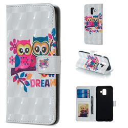 Couple Owl 3D Painted Leather Phone Wallet Case for Samsung Galaxy A6 (2018)