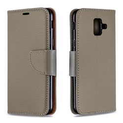 Classic Luxury Litchi Leather Phone Wallet Case for Samsung Galaxy A6 (2018) - Gray