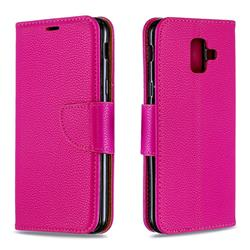Classic Luxury Litchi Leather Phone Wallet Case for Samsung Galaxy A6 (2018) - Rose