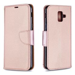 Classic Luxury Litchi Leather Phone Wallet Case for Samsung Galaxy A6 (2018) - Golden