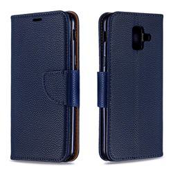 Classic Luxury Litchi Leather Phone Wallet Case for Samsung Galaxy A6 (2018) - Blue