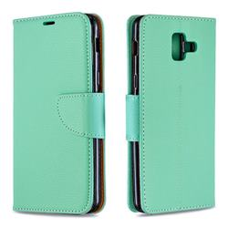 Classic Luxury Litchi Leather Phone Wallet Case for Samsung Galaxy A6 (2018) - Green