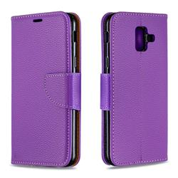 Classic Luxury Litchi Leather Phone Wallet Case for Samsung Galaxy A6 (2018) - Purple