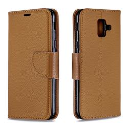Classic Luxury Litchi Leather Phone Wallet Case for Samsung Galaxy A6 (2018) - Brown
