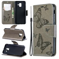 Embossing Double Butterfly Leather Wallet Case for Samsung Galaxy A6 (2018) - Gray