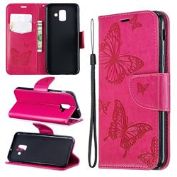 Embossing Double Butterfly Leather Wallet Case for Samsung Galaxy A6 (2018) - Red