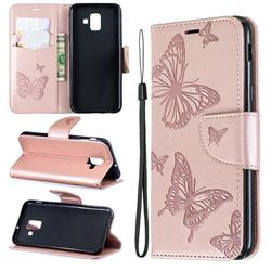 Embossing Double Butterfly Leather Wallet Case for Samsung Galaxy A6 (2018) - Rose Gold