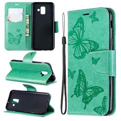 Embossing Double Butterfly Leather Wallet Case for Samsung Galaxy A6 (2018) - Green