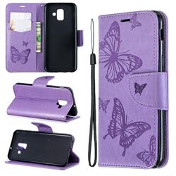 Embossing Double Butterfly Leather Wallet Case for Samsung Galaxy A6 (2018) - Purple