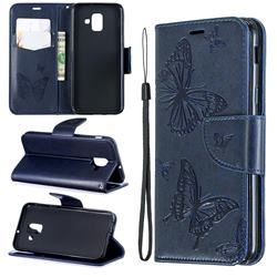 Embossing Double Butterfly Leather Wallet Case for Samsung Galaxy A6 (2018) - Dark Blue