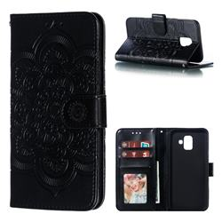 Intricate Embossing Datura Solar Leather Wallet Case for Samsung Galaxy A6 (2018) - Black