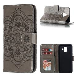 Intricate Embossing Datura Solar Leather Wallet Case for Samsung Galaxy A6 (2018) - Gray