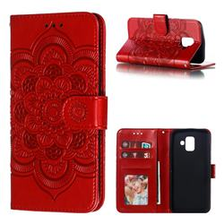 Intricate Embossing Datura Solar Leather Wallet Case for Samsung Galaxy A6 (2018) - Red