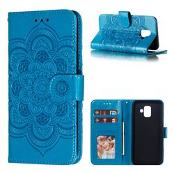 Intricate Embossing Datura Solar Leather Wallet Case for Samsung Galaxy A6 (2018) - Blue