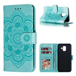 Intricate Embossing Datura Solar Leather Wallet Case for Samsung Galaxy A6 (2018) - Green