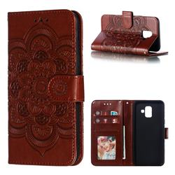 Intricate Embossing Datura Solar Leather Wallet Case for Samsung Galaxy A6 (2018) - Brown