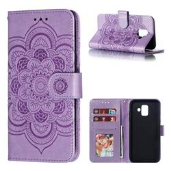 Intricate Embossing Datura Solar Leather Wallet Case for Samsung Galaxy A6 (2018) - Purple