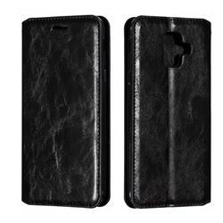 Retro Slim Magnetic Crazy Horse PU Leather Wallet Case for Samsung Galaxy A6 (2018) - Black