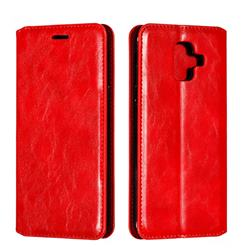 Retro Slim Magnetic Crazy Horse PU Leather Wallet Case for Samsung Galaxy A6 (2018) - Red