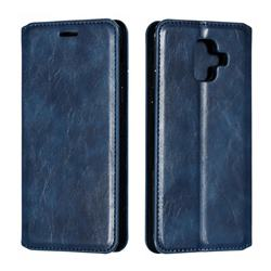 Retro Slim Magnetic Crazy Horse PU Leather Wallet Case for Samsung Galaxy A6 (2018) - Blue
