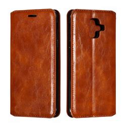 Retro Slim Magnetic Crazy Horse PU Leather Wallet Case for Samsung Galaxy A6 (2018) - Brown
