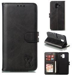 Embossing Happy Cat Leather Wallet Case for Samsung Galaxy A6 (2018) - Black