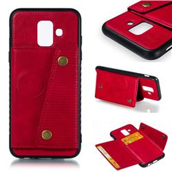 Retro Multifunction Card Slots Stand Leather Coated Phone Back Cover for Samsung Galaxy A6 (2018) - Red