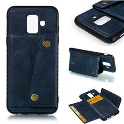 Retro Multifunction Card Slots Stand Leather Coated Phone Back Cover for Samsung Galaxy A6 (2018) - Blue