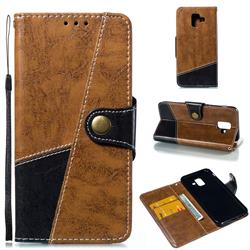 Retro Magnetic Stitching Wallet Flip Cover for Samsung Galaxy A6 (2018) - Brown