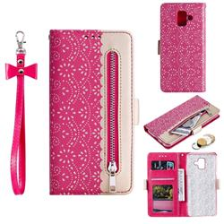Luxury Lace Zipper Stitching Leather Phone Wallet Case for Samsung Galaxy A6 (2018) - Rose