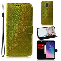Laser Circle Shining Leather Wallet Phone Case for Samsung Galaxy A6 (2018) - Golden