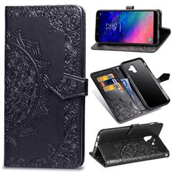 Embossing Imprint Mandala Flower Leather Wallet Case for Samsung Galaxy A6 (2018) - Black
