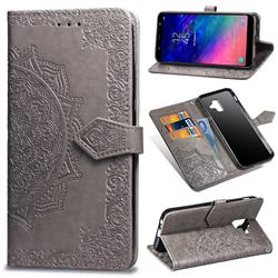 Embossing Imprint Mandala Flower Leather Wallet Case for Samsung Galaxy A6 (2018) - Gray