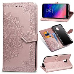 Embossing Imprint Mandala Flower Leather Wallet Case for Samsung Galaxy A6 (2018) - Rose Gold