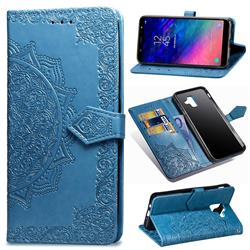 Embossing Imprint Mandala Flower Leather Wallet Case for Samsung Galaxy A6 (2018) - Blue