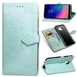 Embossing Imprint Mandala Flower Leather Wallet Case for Samsung Galaxy A6 (2018) - Green