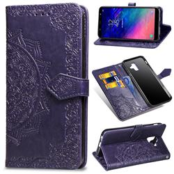 Embossing Imprint Mandala Flower Leather Wallet Case for Samsung Galaxy A6 (2018) - Purple