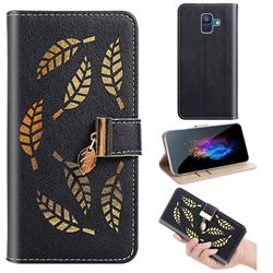 Hollow Leaves Phone Wallet Case for Samsung Galaxy A6 (2018) - Black