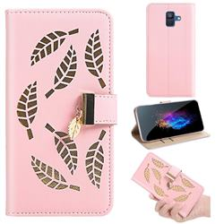 Hollow Leaves Phone Wallet Case for Samsung Galaxy A6 (2018) - Pink